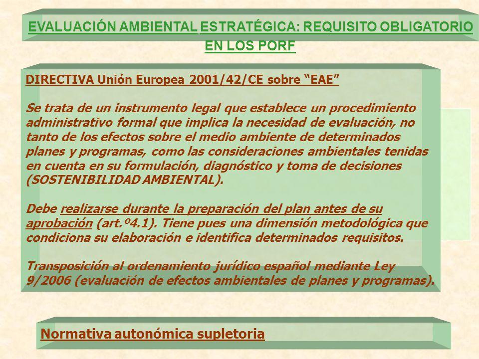 EVALUACIÓN AMBIENTAL ESTRATÉGICA: REQUISITO OBLIGATORIO EN LOS PORF DIRECTIVA Unión Europea 2001/42/CE sobre EAE Se trata de un instrumento legal que