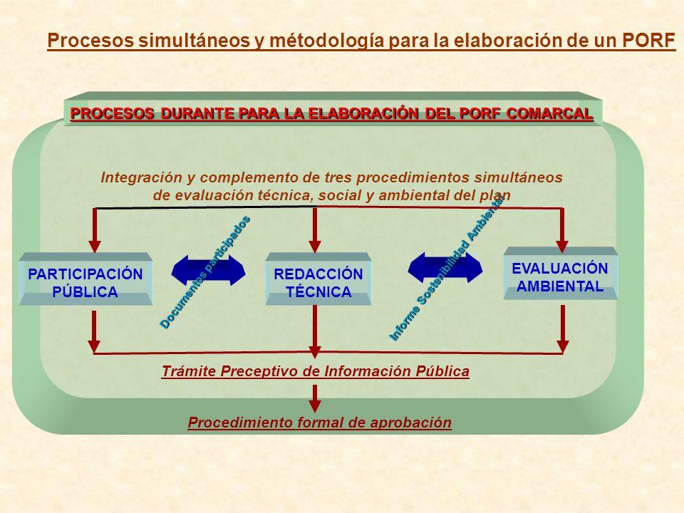 PROCESOS DURANTE PARA LA ELABORACIÓN DEL PORF COMARCAL Documentos participados Informe Sostenibilidad Ambiental Integración y complemento de tres proc