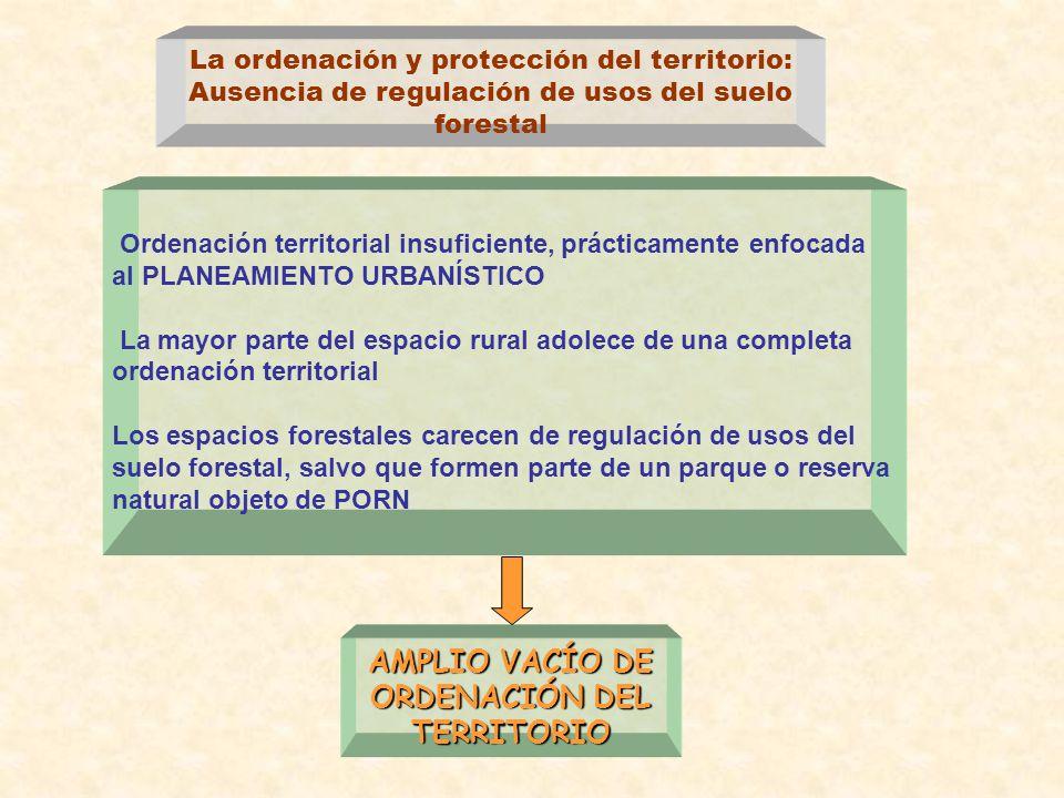 La ordenación y protección del territorio: Ausencia de regulación de usos del suelo forestal Ordenación territorial insuficiente, prácticamente enfoca