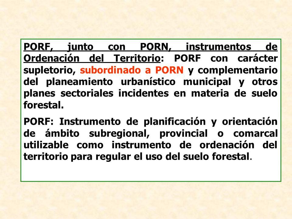 PORF, junto con PORN, instrumentos de Ordenación del Territorio: PORF con carácter supletorio, subordinado a PORN y complementario del planeamiento ur
