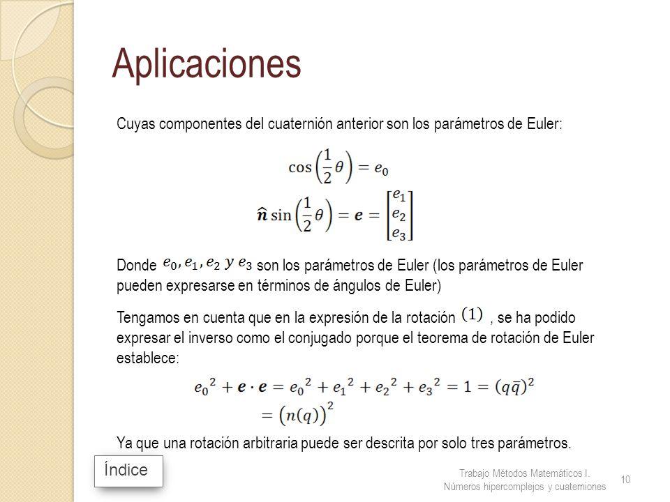Índice Aplicaciones Cuyas componentes del cuaternión anterior son los parámetros de Euler: Donde son los parámetros de Euler (los parámetros de Euler