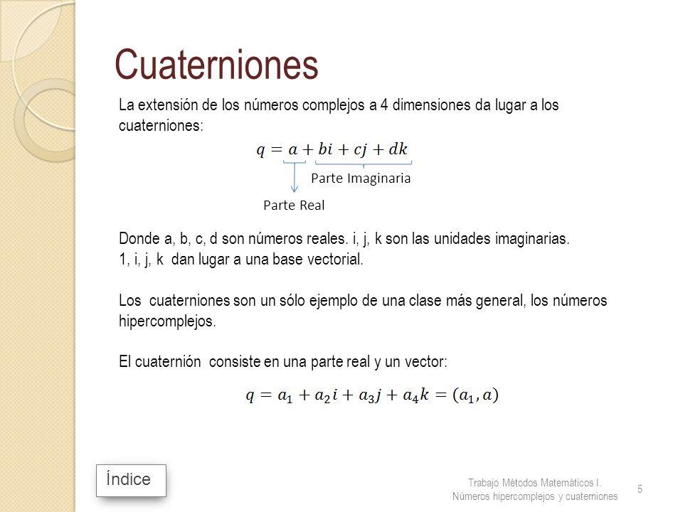 Índice Cuaterniones La extensión de los números complejos a 4 dimensiones da lugar a los cuaterniones: Donde a, b, c, d son números reales. i, j, k so