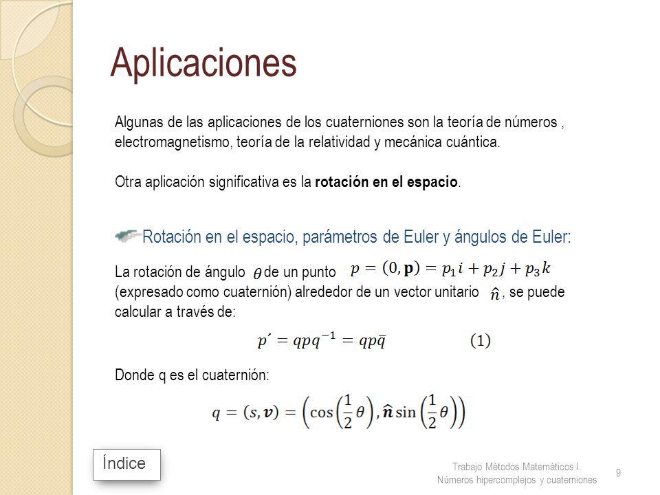 Algunas de las aplicaciones de los cuaterniones son la teoría de números, electromagnetismo, teoría de la relatividad y mecánica cuántica. Otra aplica