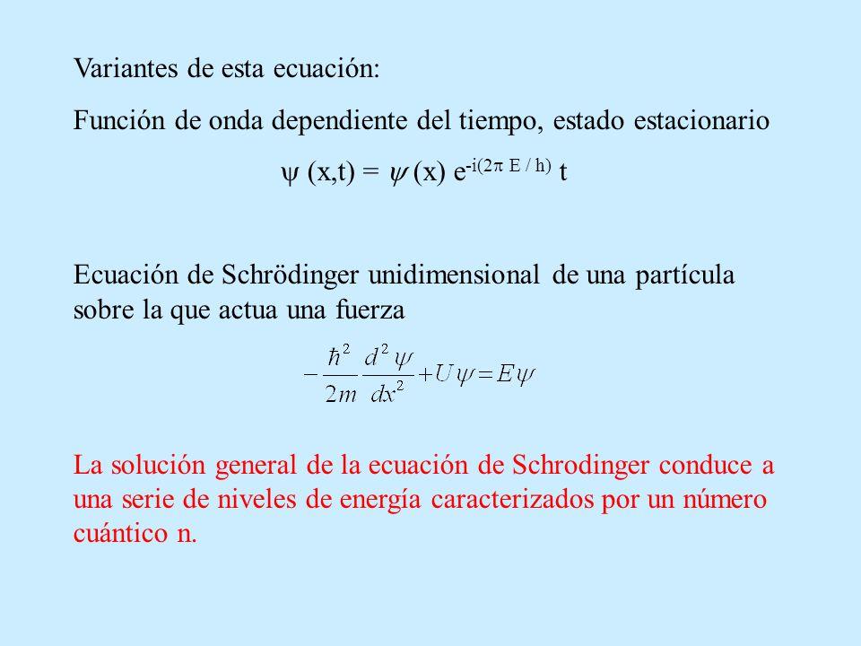 Variantes de esta ecuación: Función de onda dependiente del tiempo, estado estacionario (x,t) = (x) e -i(2 E / h) t Ecuación de Schrödinger unidimensi