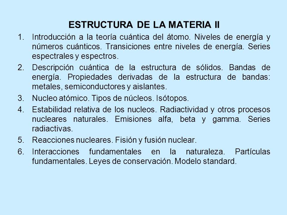 ESTRUCTURA DE LA MATERIA II 1.Introducción a la teoría cuántica del átomo. Niveles de energía y números cuánticos. Transiciones entre niveles de energ