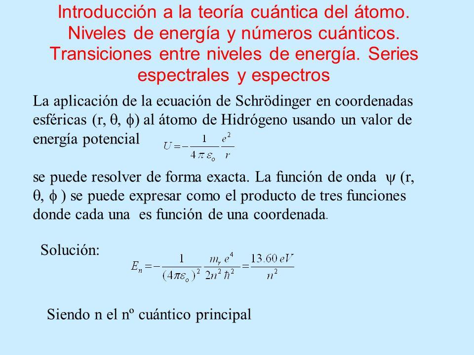 Introducción a la teoría cuántica del átomo. Niveles de energía y números cuánticos. Transiciones entre niveles de energía. Series espectrales y espec