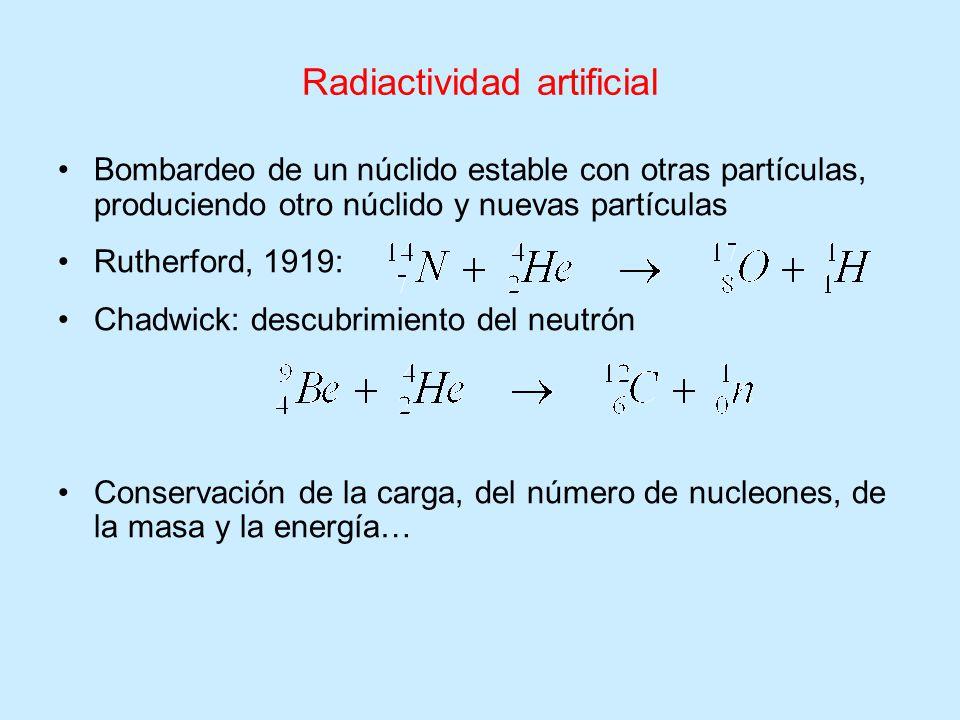 Radiactividad artificial Bombardeo de un núclido estable con otras partículas, produciendo otro núclido y nuevas partículas Rutherford, 1919: Chadwick