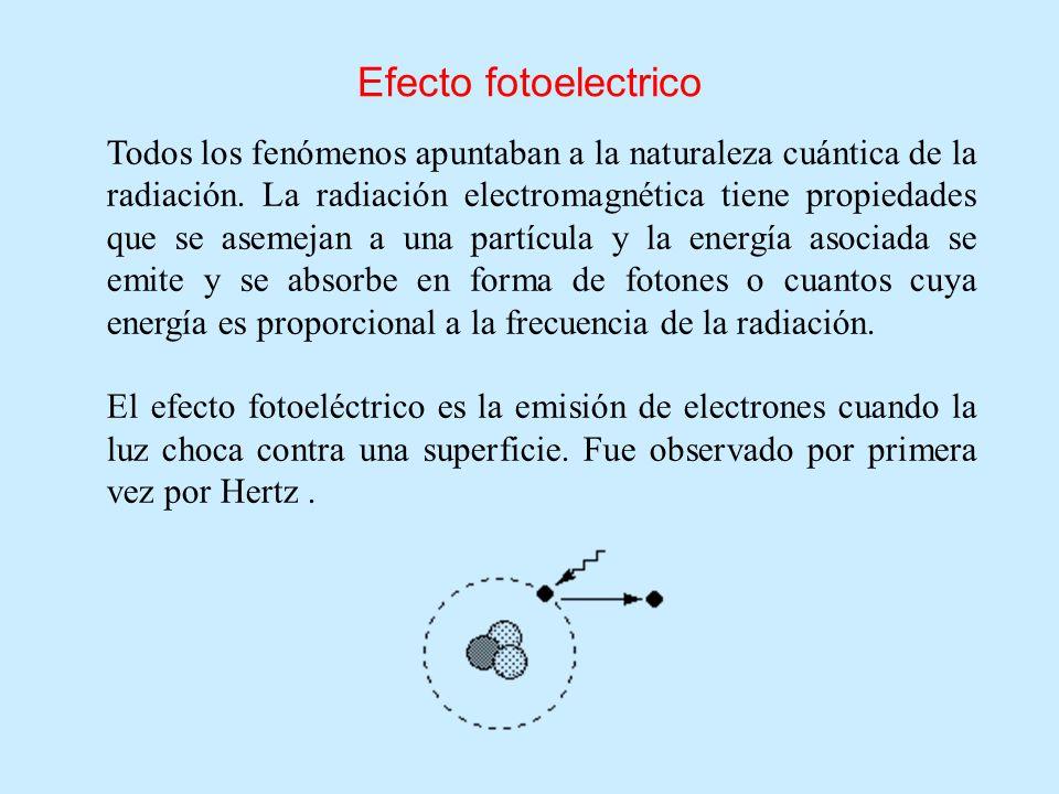 Efecto fotoelectrico Todos los fenómenos apuntaban a la naturaleza cuántica de la radiación. La radiación electromagnética tiene propiedades que se as