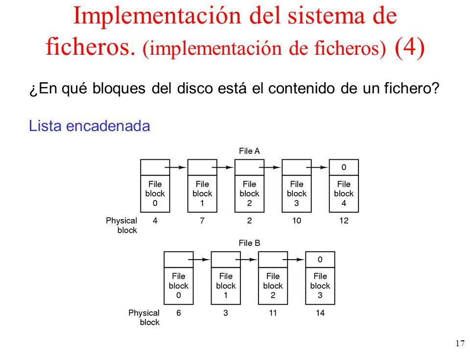 17 Implementación del sistema de ficheros.