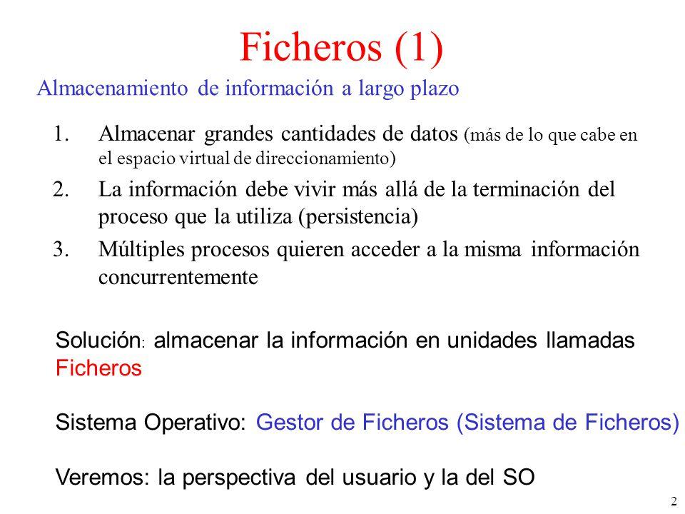 2 Almacenamiento de información a largo plazo 1.Almacenar grandes cantidades de datos (más de lo que cabe en el espacio virtual de direccionamiento) 2.La información debe vivir más allá de la terminación del proceso que la utiliza (persistencia) 3.Múltiples procesos quieren acceder a la misma información concurrentemente Solución : almacenar la información en unidades llamadas Ficheros Sistema Operativo: Gestor de Ficheros (Sistema de Ficheros) Veremos: la perspectiva del usuario y la del SO Ficheros (1)