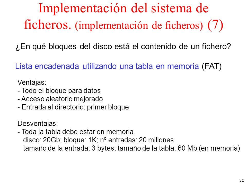 20 Implementación del sistema de ficheros.