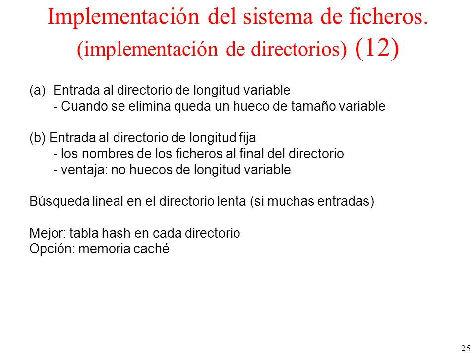 25 Implementación del sistema de ficheros.