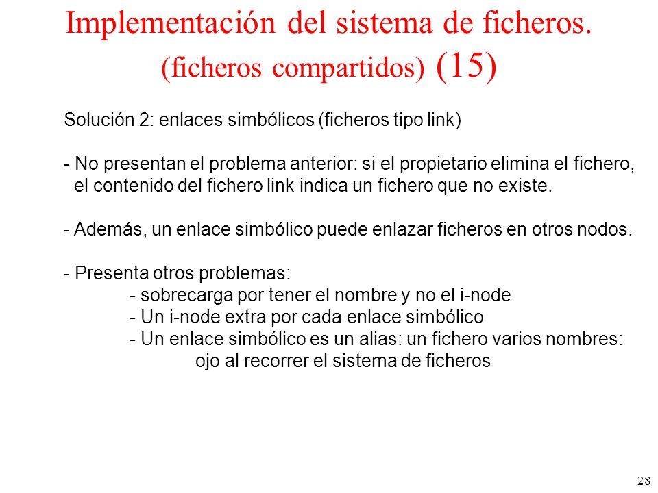 28 Implementación del sistema de ficheros.