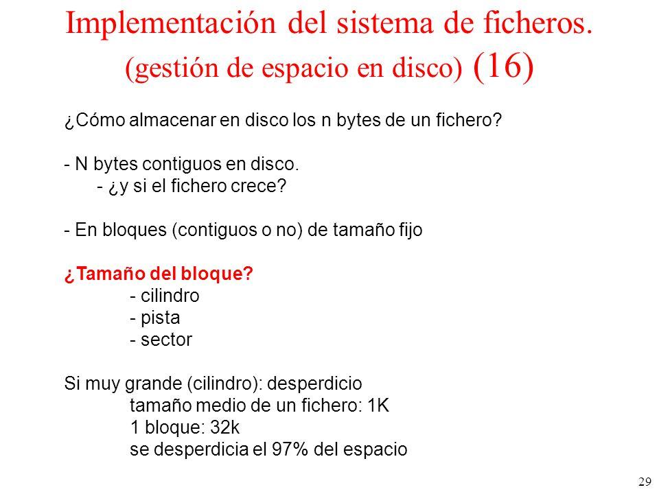 29 Implementación del sistema de ficheros.