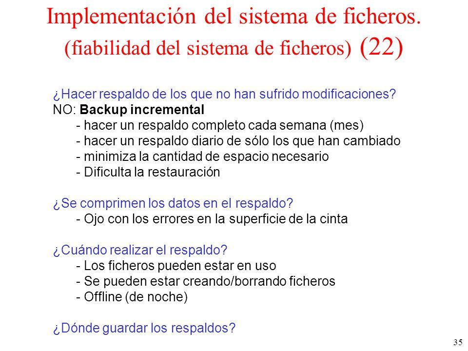 35 Implementación del sistema de ficheros.