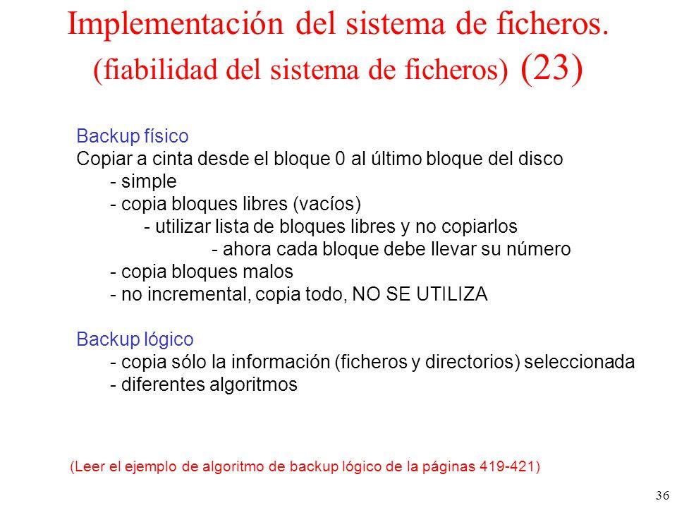 36 Implementación del sistema de ficheros.