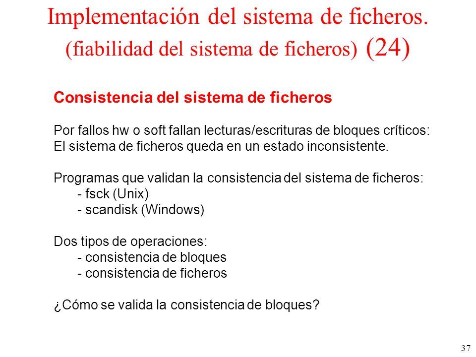37 Implementación del sistema de ficheros.