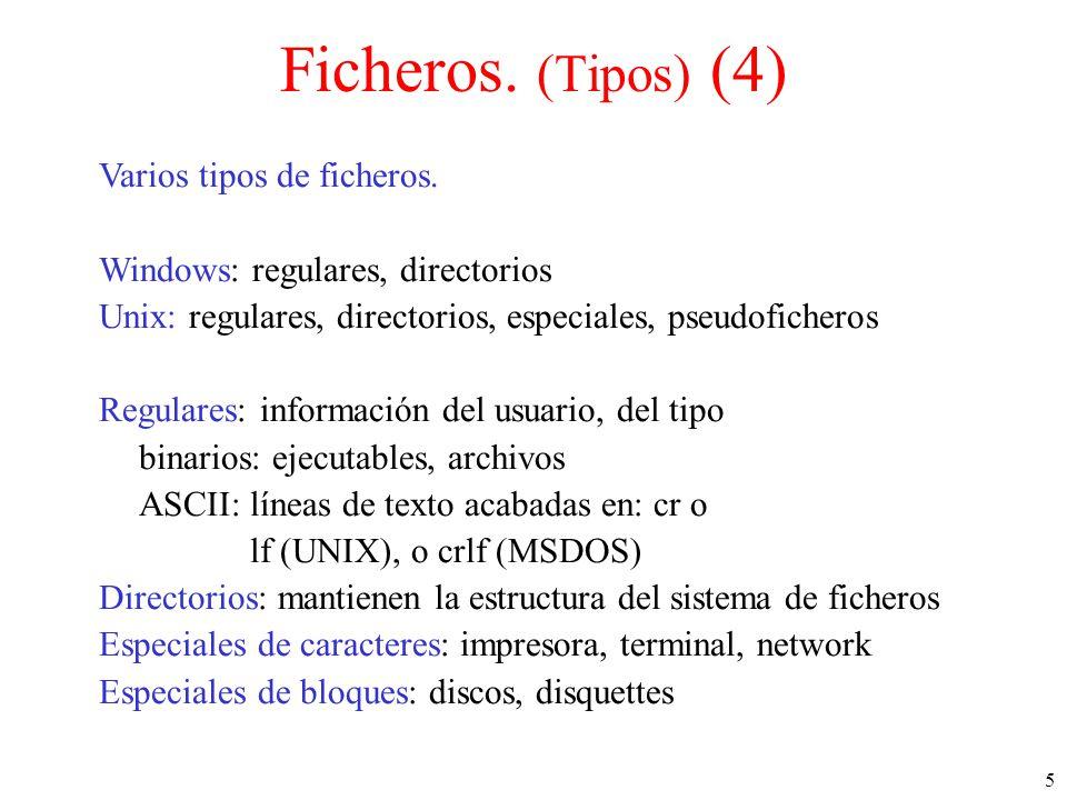 5 Ficheros.(Tipos) (4) Varios tipos de ficheros.