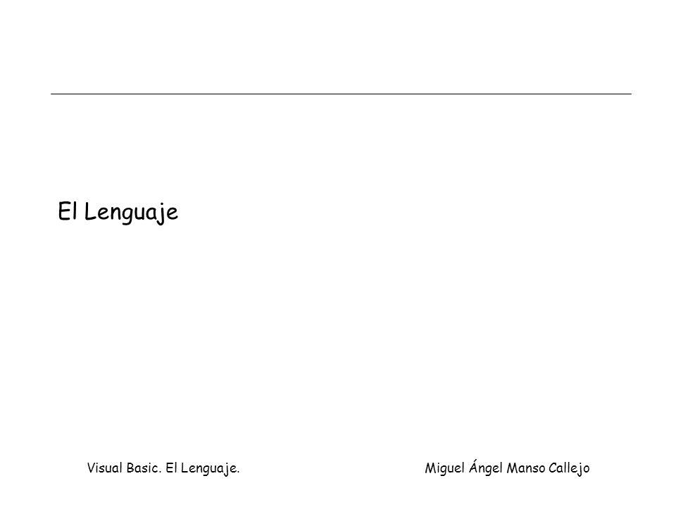 Visual Basic. El Lenguaje. Miguel Ángel Manso Callejo El Lenguaje