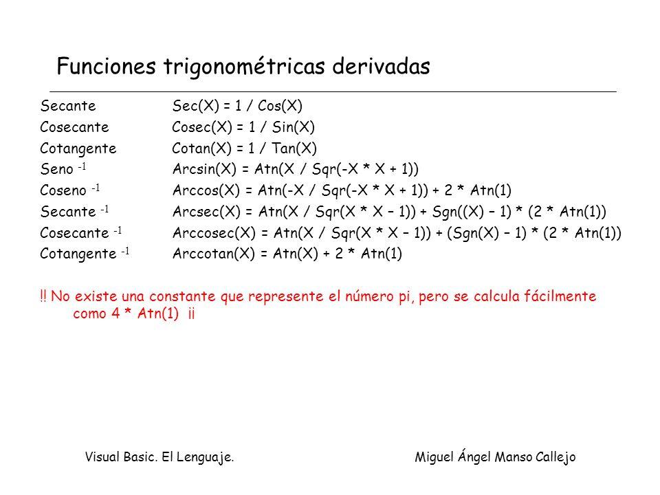 Visual Basic. El Lenguaje. Miguel Ángel Manso Callejo Funciones trigonométricas derivadas Secante Sec(X) = 1 / Cos(X) CosecanteCosec(X) = 1 / Sin(X) C