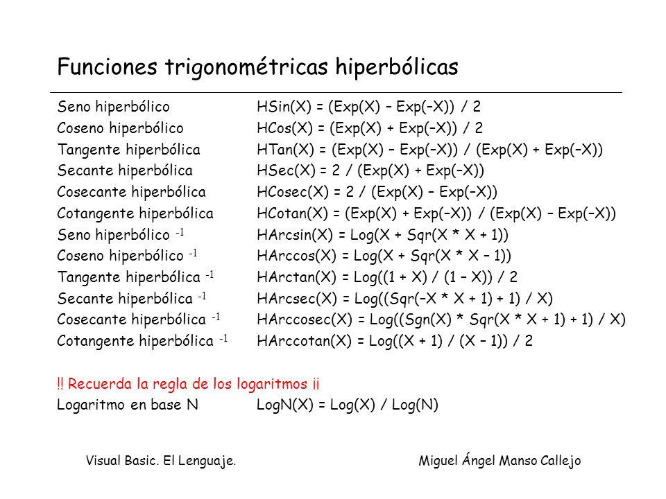 Visual Basic. El Lenguaje. Miguel Ángel Manso Callejo Funciones trigonométricas hiperbólicas Seno hiperbólico HSin(X) = (Exp(X) – Exp(–X)) / 2 Coseno