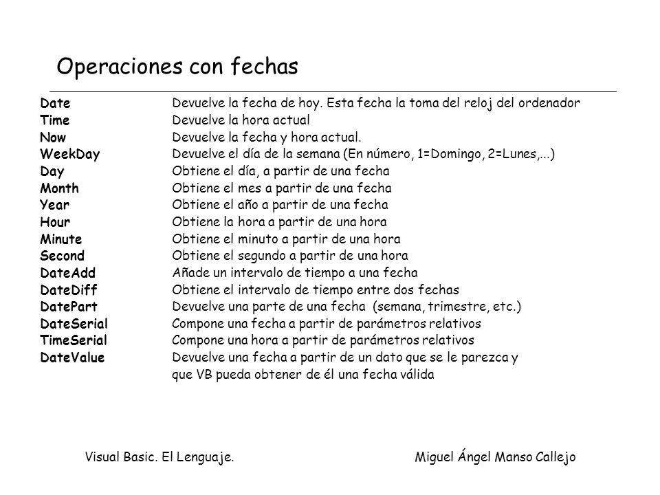 Visual Basic. El Lenguaje. Miguel Ángel Manso Callejo Operaciones con fechas DateDevuelve la fecha de hoy. Esta fecha la toma del reloj del ordenador