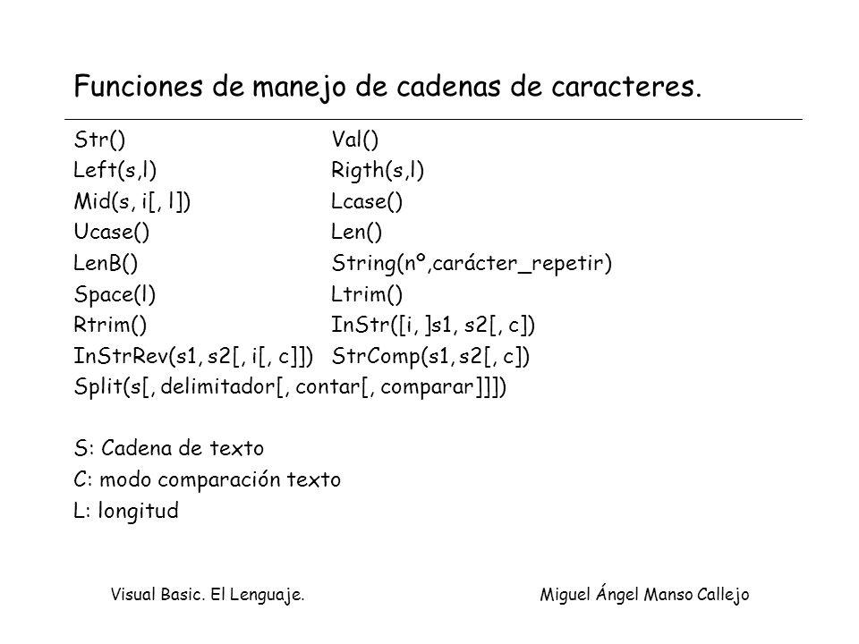 Visual Basic. El Lenguaje. Miguel Ángel Manso Callejo Funciones de manejo de cadenas de caracteres. Str()Val() Left(s,l)Rigth(s,l) Mid(s, i[, l]) Lcas