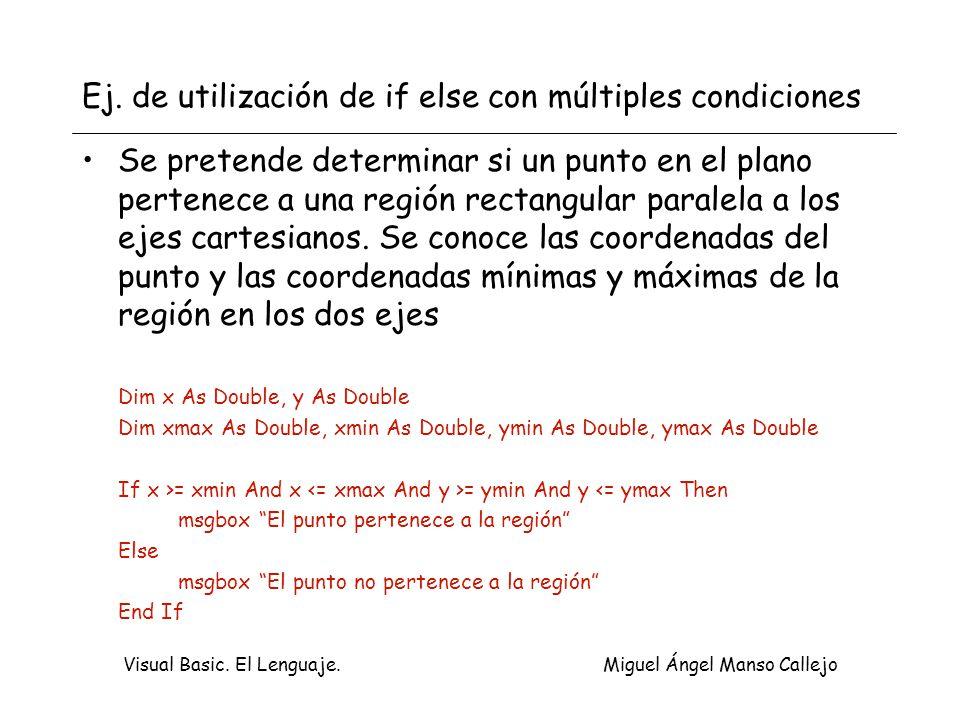 Visual Basic. El Lenguaje. Miguel Ángel Manso Callejo Ej. de utilización de if else con múltiples condiciones Se pretende determinar si un punto en el