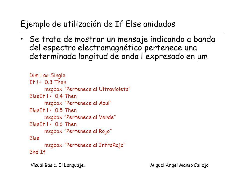 Visual Basic. El Lenguaje. Miguel Ángel Manso Callejo Ejemplo de utilización de If Else anidados Se trata de mostrar un mensaje indicando a banda del