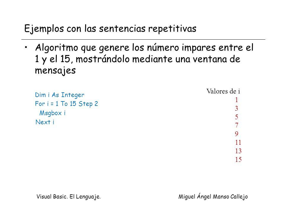 Visual Basic. El Lenguaje. Miguel Ángel Manso Callejo Ejemplos con las sentencias repetitivas Algoritmo que genere los número impares entre el 1 y el