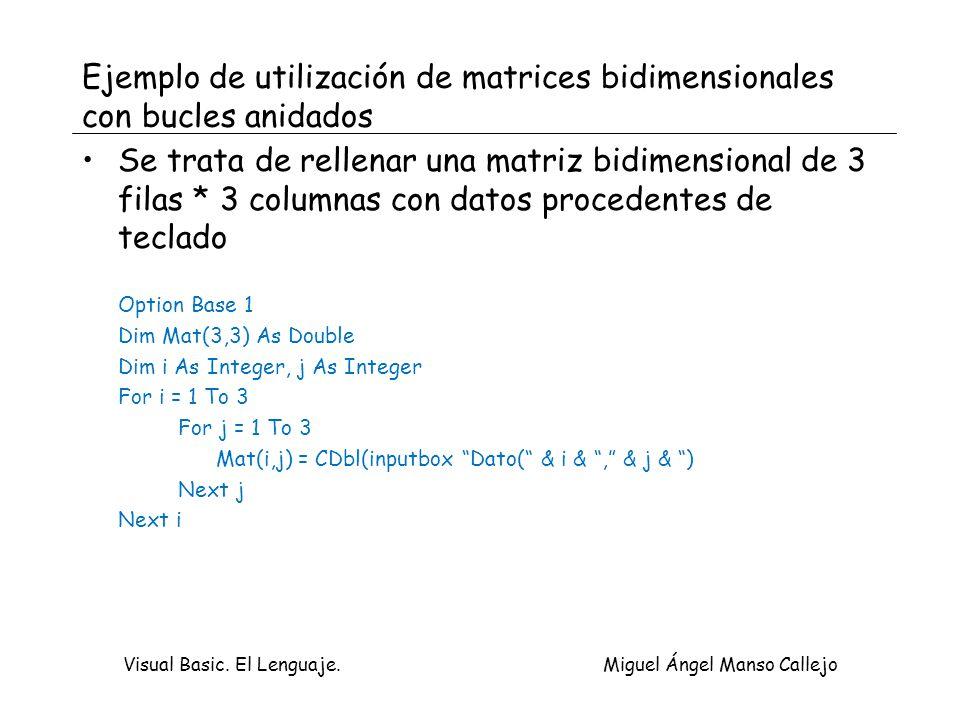 Visual Basic. El Lenguaje. Miguel Ángel Manso Callejo Ejemplo de utilización de matrices bidimensionales con bucles anidados Se trata de rellenar una