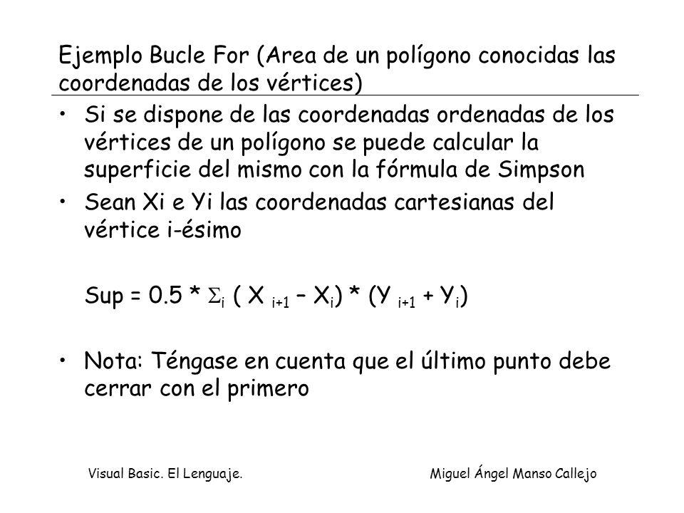 Visual Basic. El Lenguaje. Miguel Ángel Manso Callejo Ejemplo Bucle For (Area de un polígono conocidas las coordenadas de los vértices) Si se dispone