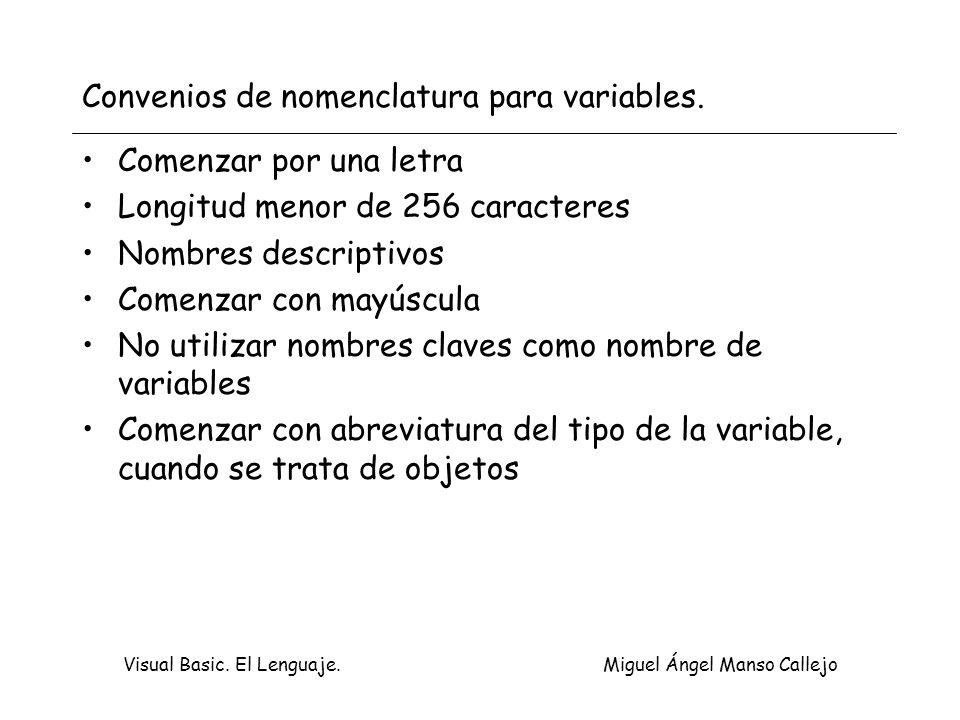 Visual Basic. El Lenguaje. Miguel Ángel Manso Callejo Convenios de nomenclatura para variables. Comenzar por una letra Longitud menor de 256 caractere