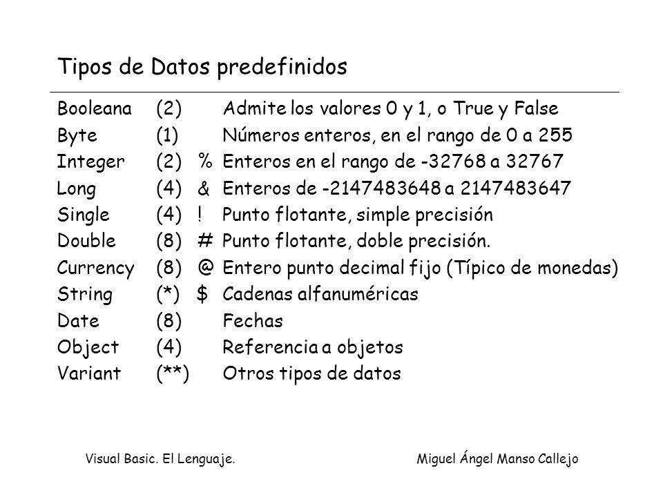 Visual Basic.El Lenguaje. Miguel Ángel Manso Callejo Creación de una nueva base de datos.