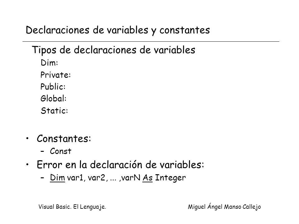 Visual Basic. El Lenguaje. Miguel Ángel Manso Callejo Declaraciones de variables y constantes Tipos de declaraciones de variables Dim: Private: Public