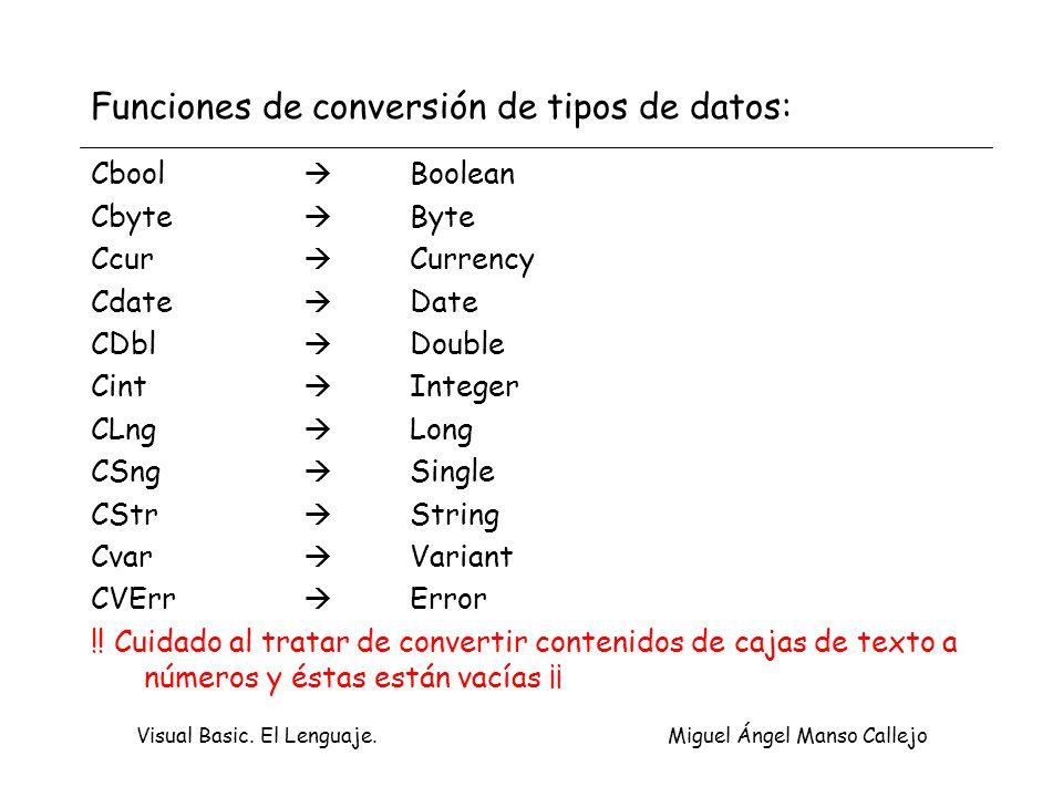 Visual Basic. El Lenguaje. Miguel Ángel Manso Callejo Funciones de conversión de tipos de datos: Cbool Boolean Cbyte Byte Ccur Currency Cdate Date CDb