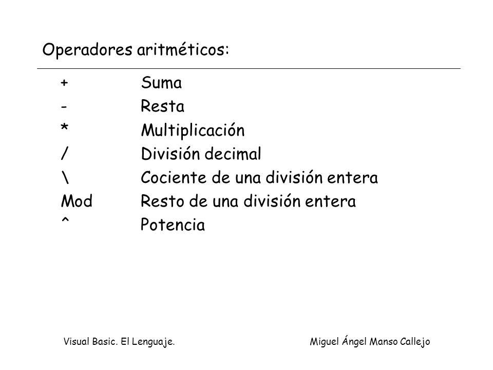 Visual Basic. El Lenguaje. Miguel Ángel Manso Callejo Operadores aritméticos: +Suma -Resta *Multiplicación /División decimal \Cociente de una división
