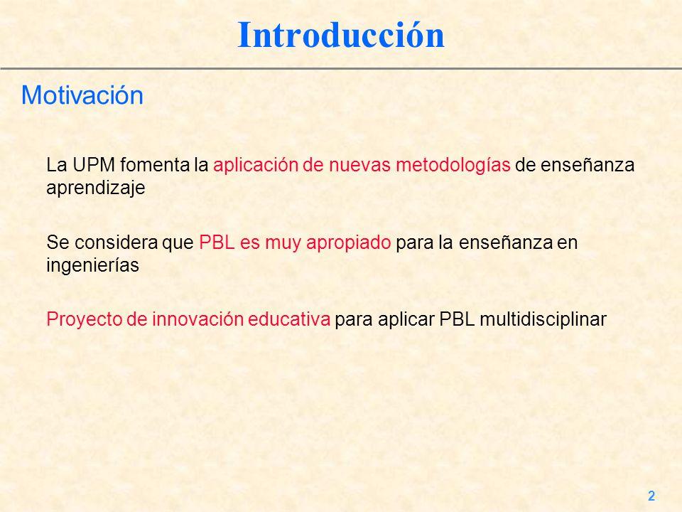 2 Introducción Motivación La UPM fomenta la aplicación de nuevas metodologías de enseñanza aprendizaje Se considera que PBL es muy apropiado para la e