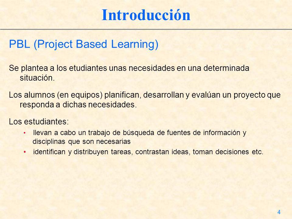 4 Introducción PBL (Project Based Learning) Se plantea a los etudiantes unas necesidades en una determinada situación. Los alumnos (en equipos) planif