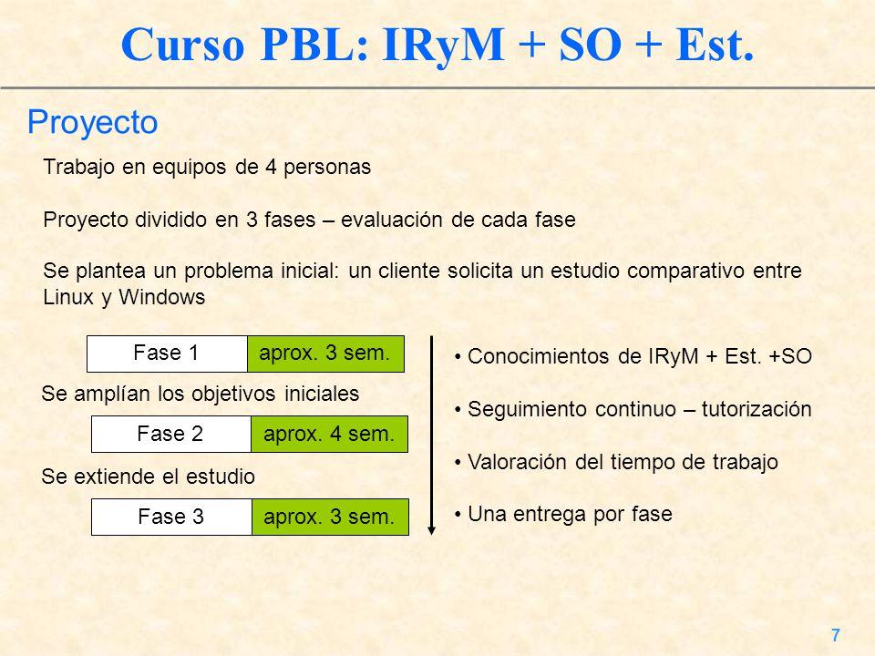 7 Curso PBL: IRyM + SO + Est. Proyecto Trabajo en equipos de 4 personas Proyecto dividido en 3 fases – evaluación de cada fase aprox. 3 sem.Fase 1 Se