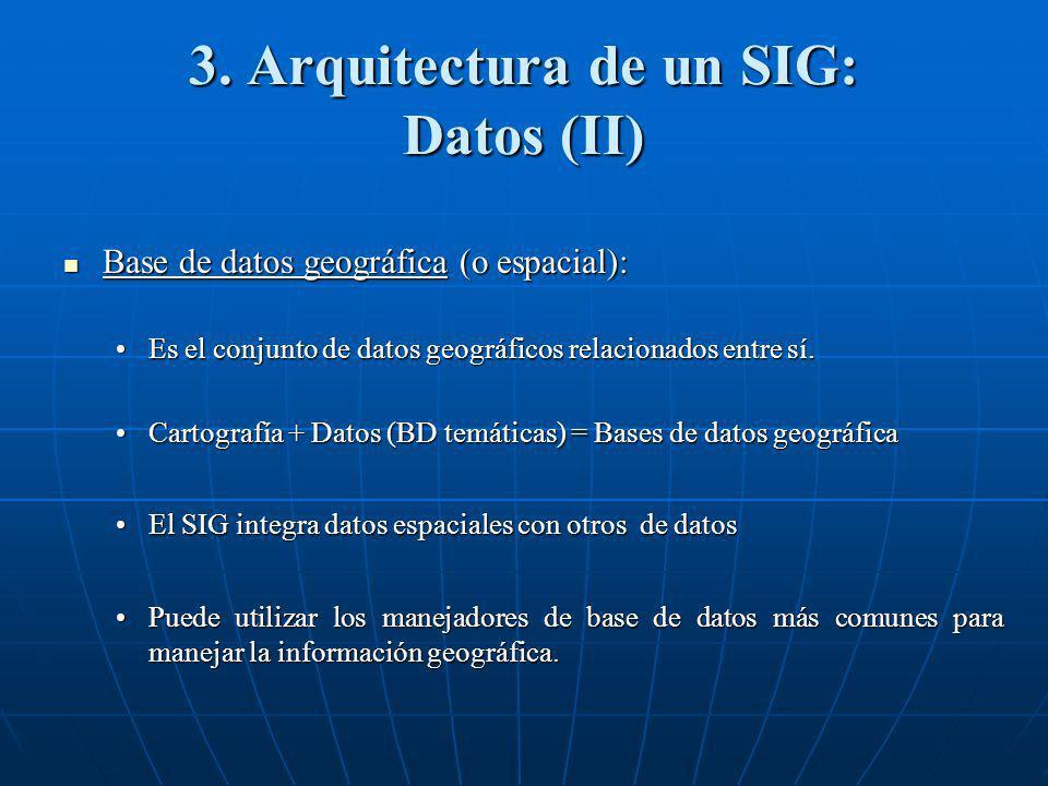 3. Arquitectura de un SIG: Datos (II) Base de datos geográfica (o espacial): Base de datos geográfica (o espacial): Es el conjunto de datos geográfico