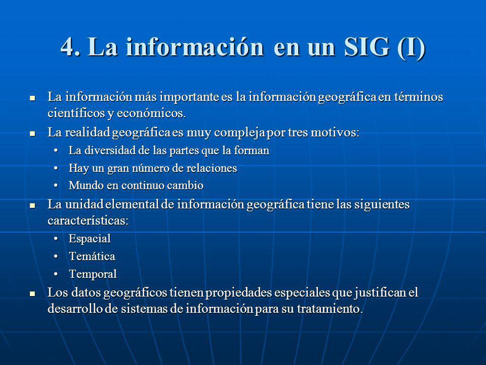 4. La información en un SIG (I) La información más importante es la información geográfica en términos científicos y económicos. La información más im
