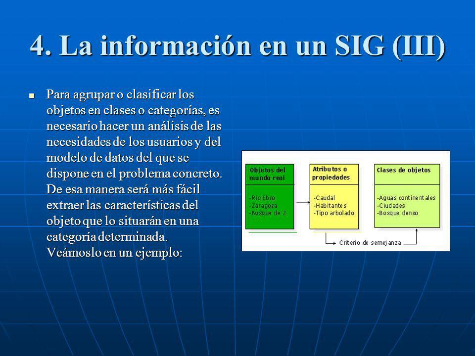 4. La información en un SIG (III) Para agrupar o clasificar los objetos en clases o categorías, es necesario hacer un análisis de las necesidades de l