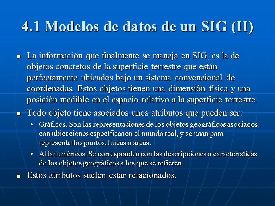 4.1 Modelos de datos de un SIG (II) La información que finalmente se maneja en SIG, es la de objetos concretos de la superficie terrestre que están pe