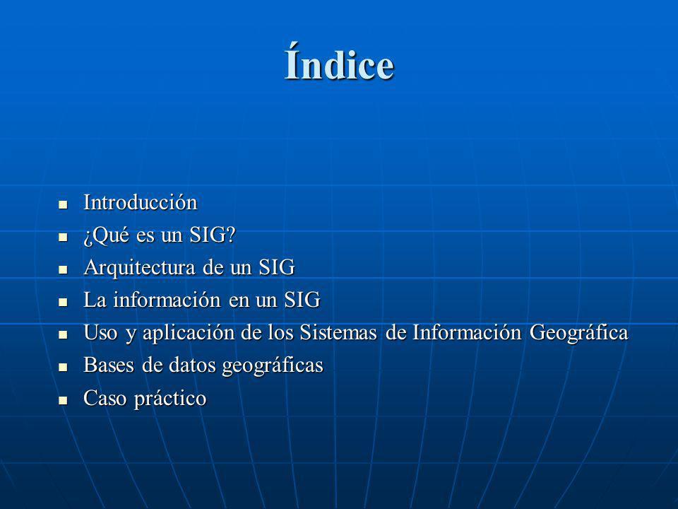 Índice Introducción Introducción ¿Qué es un SIG? ¿Qué es un SIG? Arquitectura de un SIG Arquitectura de un SIG La información en un SIG La información