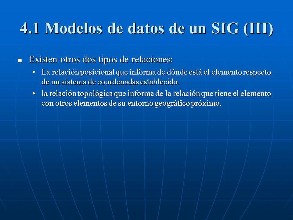 4.1 Modelos de datos de un SIG (III) Existen otros dos tipos de relaciones: Existen otros dos tipos de relaciones: La relación posicional que informa