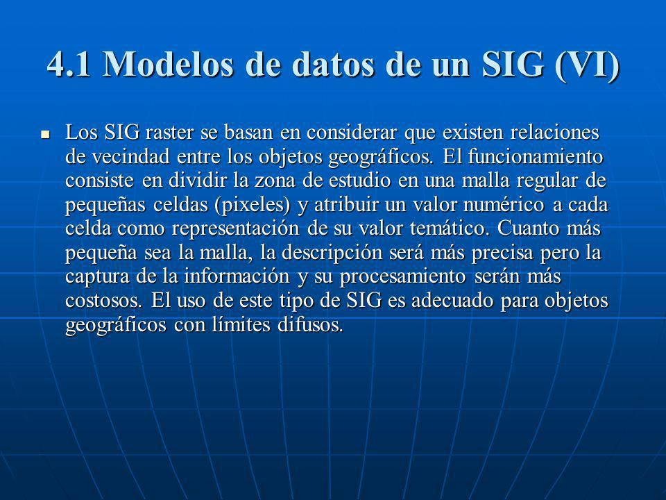 4.1 Modelos de datos de un SIG (VI) Los SIG raster se basan en considerar que existen relaciones de vecindad entre los objetos geográficos. El funcion