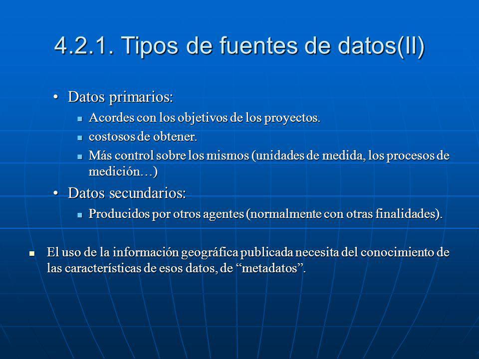 4.2.1. Tipos de fuentes de datos(II) Datos primarios:Datos primarios: Acordes con los objetivos de los proyectos. Acordes con los objetivos de los pro