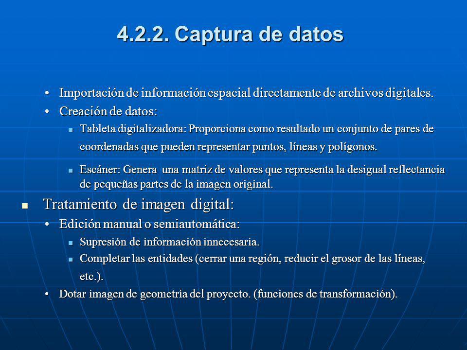 4.2.2. Captura de datos Importación de información espacial directamente de archivos digitales.Importación de información espacial directamente de arc