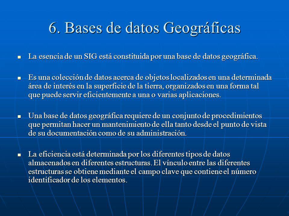 6. Bases de datos Geográficas La esencia de un SIG está constituida por una base de datos geográfica. La esencia de un SIG está constituida por una ba
